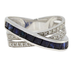 White Gold Sapphire And Diamond Crossover Ring